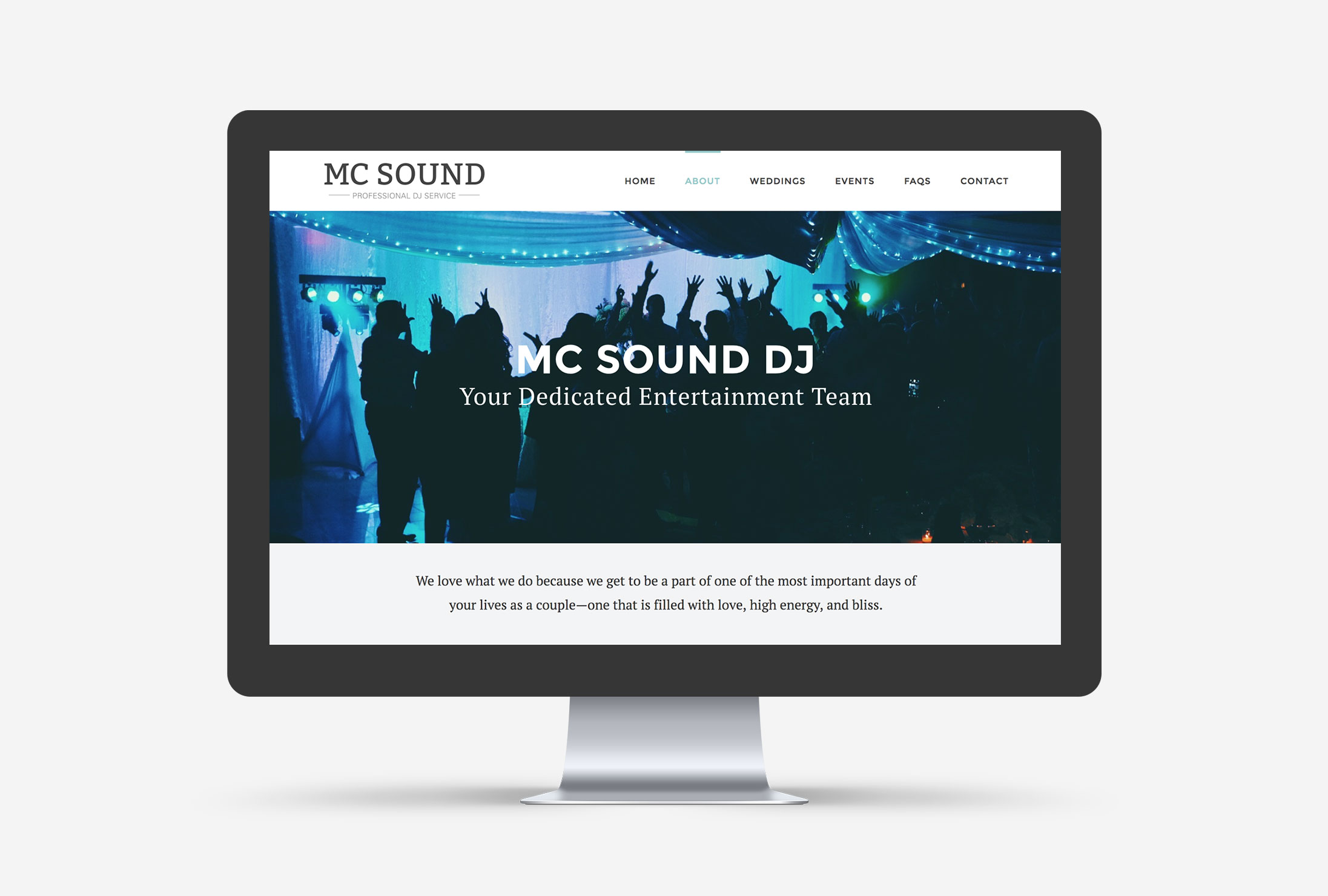 MC Sound DJ Small Business WordPress Web Design