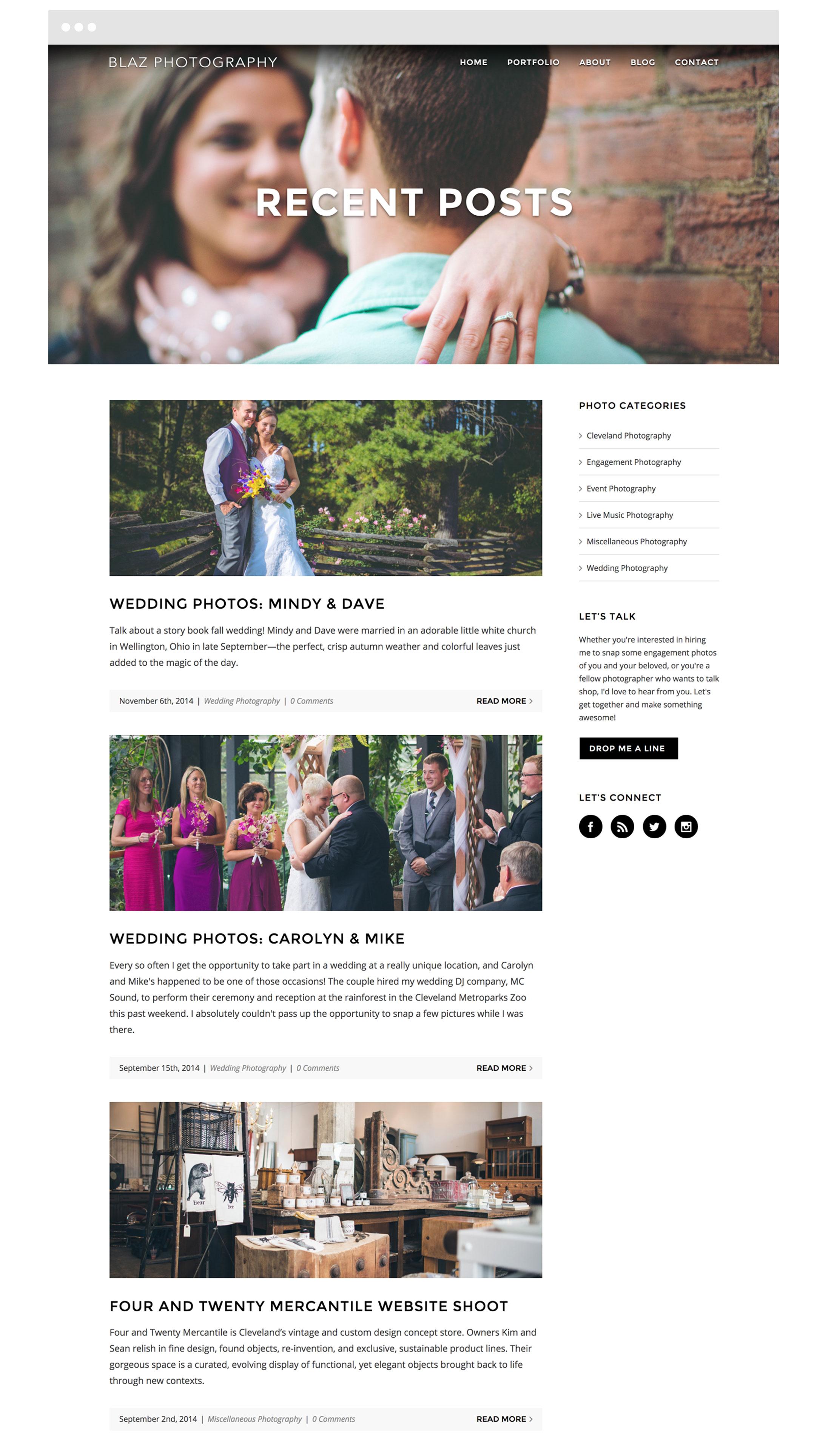 Blaz Photography Cleveland Web Design
