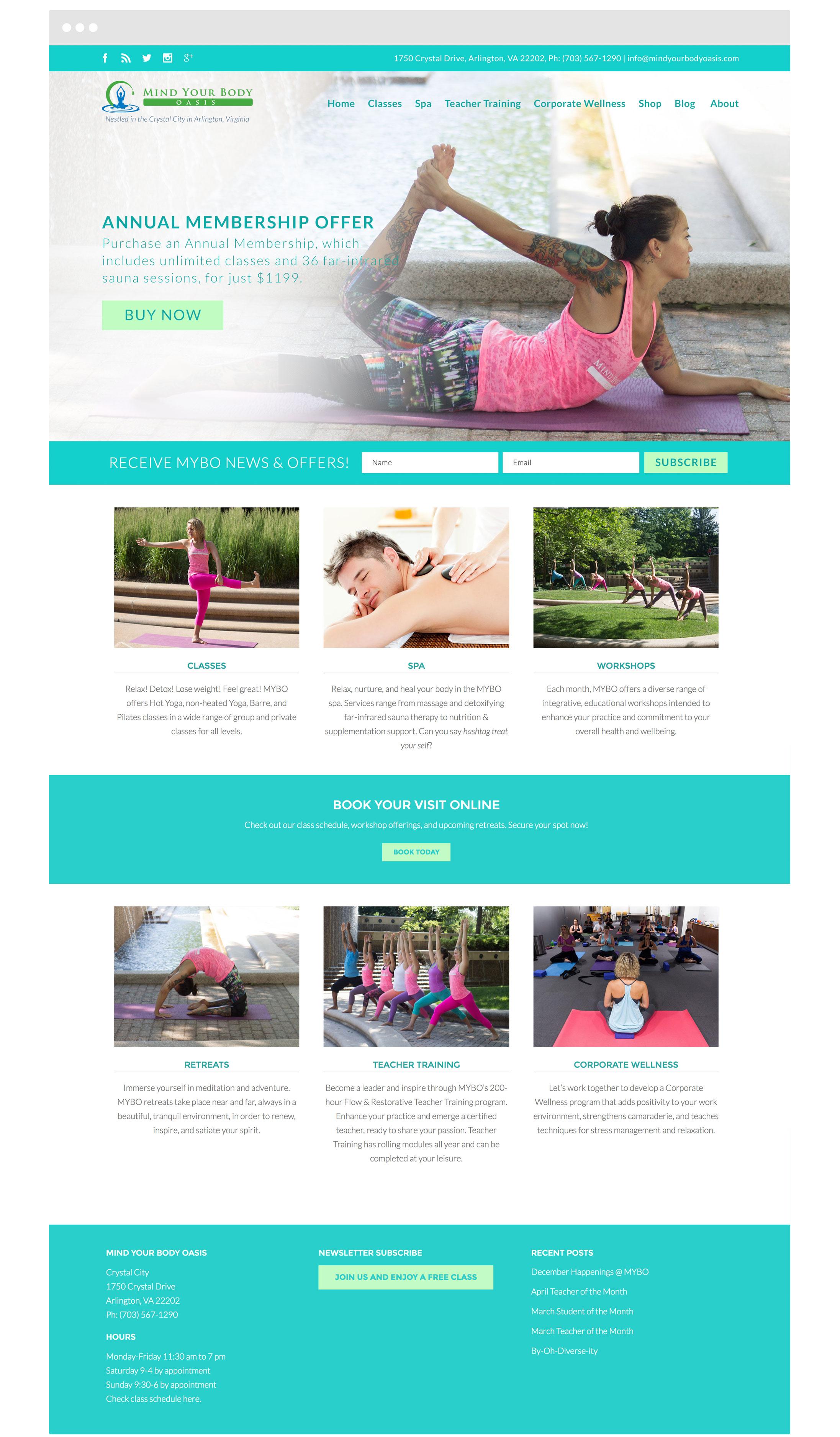Mind Your Body Oasis Yoga Studio Web Design