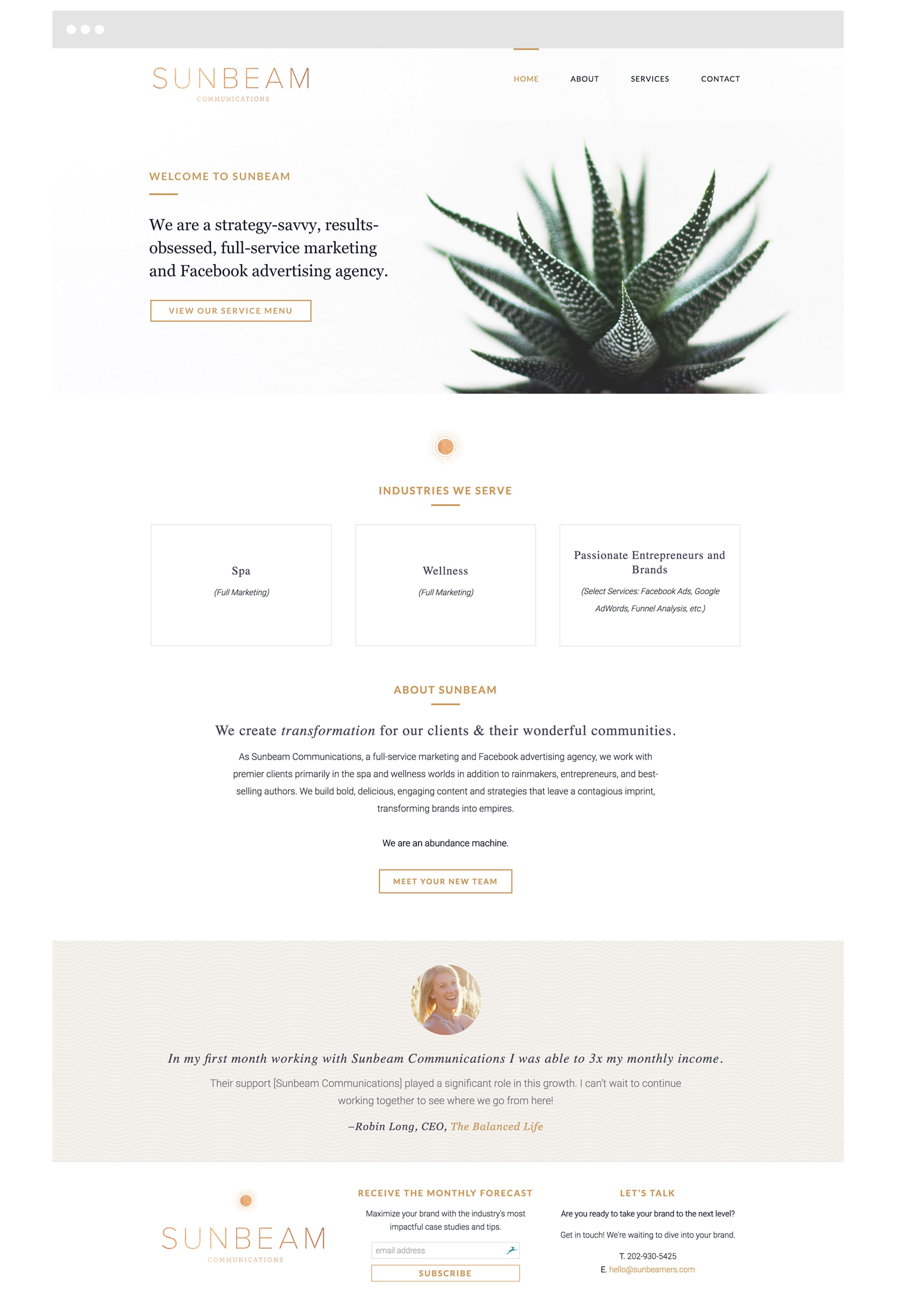 Sunbeam Communications Small Business WordPress Web Design