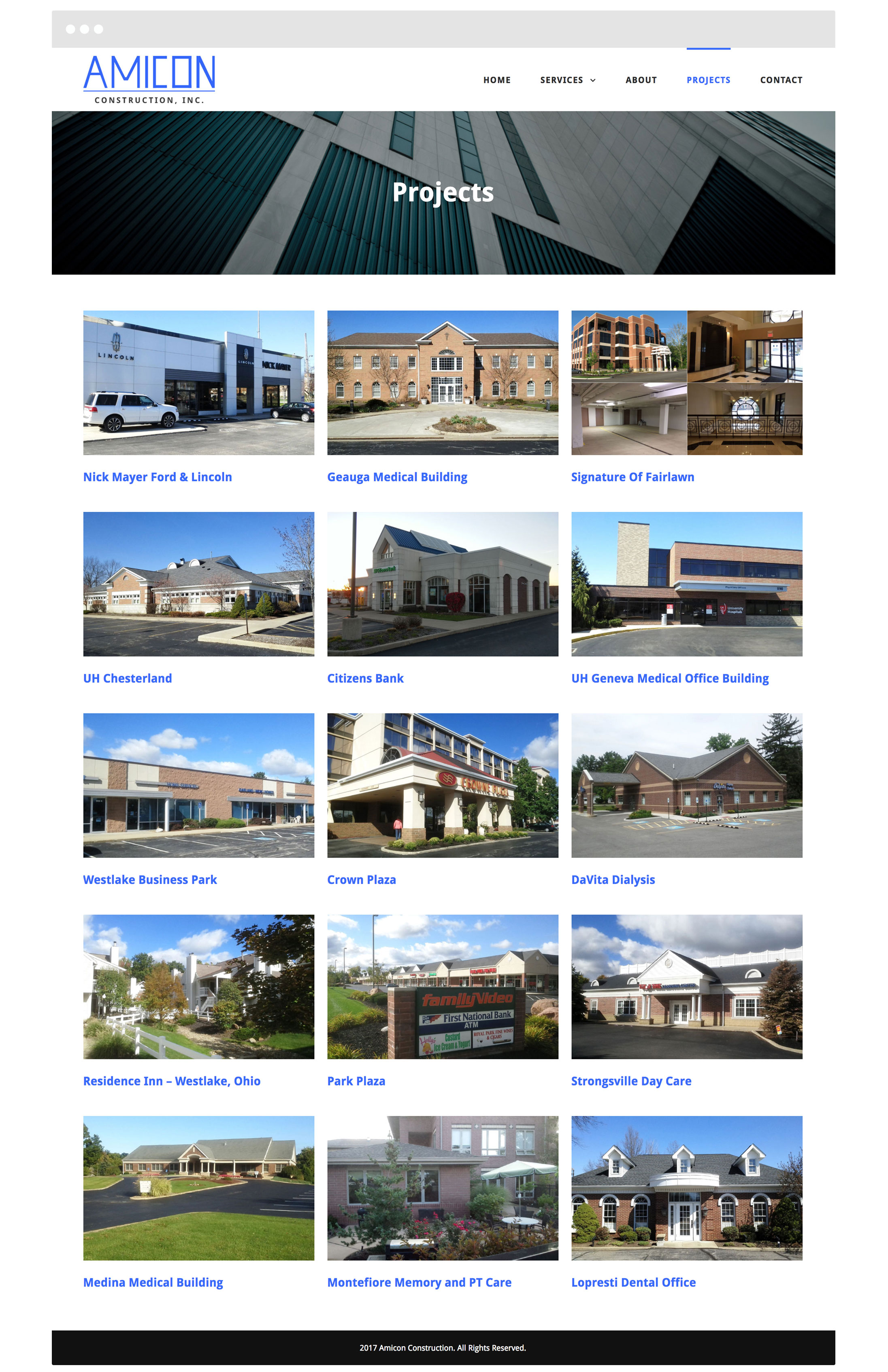 Amicon Construction Cleveland Web Design